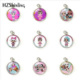 $enCountryForm.capitalKeyWord Australia - Cute Cartoon Doll Lovely Girls Round Stainless Steel Pendants Jewelry Glass Dome Cartoon Doll Art Printed Charms Accessory
