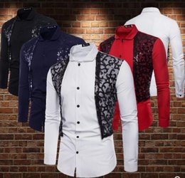 Stage Shirts Australia - 2019 fashion M-2XL Sequined LACE WAISTCOAT with fake two-piece long-sleeved shirt Men's Shirts singer Hair Stylist Stage costume Nightclub