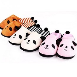 $enCountryForm.capitalKeyWord Australia - New Lovely Women Flip Flop Cute Panda Shape Home Floor Soft Stripe Slippers Female Shoes Girls Winter Spring Warm