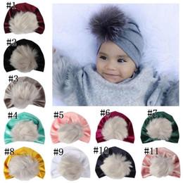 Fallen Hats Australia - kids fall winter hats christmas fur pom poms hat baby velvet beanies bonnet girls indians muslim turban skull cap