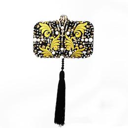 High End Hand Bags Australia - High-end dinner clutch bag embroidery hand diamond tassel feather diagonal small bag