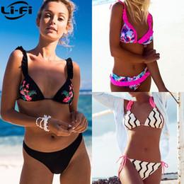 Brazilian Back swimwear online shopping - LI FI Brazilian Bikini Set Women Thong Swimwear Sexy Summer Bathing Suit Ruffle Back Swimming Suit Bather Biquini Maillot