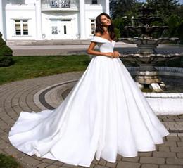 $enCountryForm.capitalKeyWord Australia - Off Shoulder Pure White Satin A Line Wedding Dresses Folden V-Neckline Court Train Plus Size Custom Made Garden Bridal Gowns