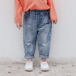 $enCountryForm.capitalKeyWord Australia - Fashion Kids hole jeans girls letter embroidery denim pants children double pocket elastic waist cowboy trouser fall boy clothes F9252