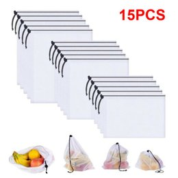 $enCountryForm.capitalKeyWord Australia - 15Pcs Reusable Produce Bags White ROPE Mesh Vegetable Fruit Toys Storage Pouch Storage Bags Shipping
