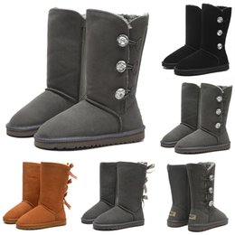 Women genuine leather knee high boots online shopping - 2019 WGG Bowtie Button Crystal Women s Australia Classic Brand Knee Half Boots Winter Tall Boots Black Grey Chestnut Girl Fashion Boots
