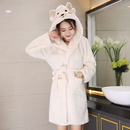 Korean Autumn Winter Warm Fashion Robe Coral Fleece Pajamas Animal Cute  Cartoon Nightgown Female Robe Woman Nightdress 6Q2544 898bfcd15