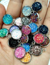 Scale Charms Australia - Stainless Steel Mermaid Fish Scale Charm Colorful Faux Druzy Cabochon Resin Round Connector Charms 12mm