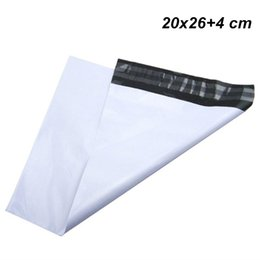 plastic package bags UK - 20x26+4cm White Express Shipping Mailer Envelope Self Sealable Package Bag Self Adhesive Post Courier Mailer Plastic Mail Packing Pack Pouch