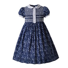 Down coat for baby online shopping - Pettigirl Doll Collar Smocked Baby Girls Dresses For Party And Wedding Toddler Girl Designer Clothes G DMGD006 B44