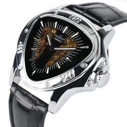 $enCountryForm.capitalKeyWord Australia - Delicate Automatic-self-winding Mechanical Watch Inventive Triangle Stainless Steel Case with Leather Band Luminous Function Watches for Men
