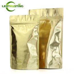 Sugar Bag Wholesale Australia - Leotrusting 50pcs lot Thick Stand up Glossy Gold Aluminum Foil Ziplock Bag Doypack Gold Foil Candy Sugar Coffee Gift Smell Proof Pouches