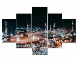 Painting Wall Ornaments Australia - 5P HD Print Mecca Round Ornament View Mosque Night Landscape Poster Religious Wall Modular Painting for Living Room
