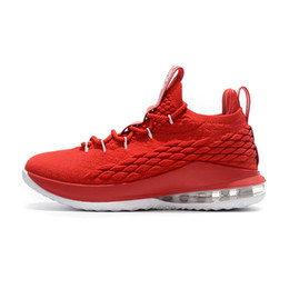 07a3a36f4c2 Mens Lebron 15 Low basketball shoes University Red White Royal Blue Yellow  Purple Christmas Oreo Black sneakers tennis with box for sale