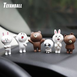 Discount wholesale gifts interiors - 6Pcs Set Car Ornament Cute Brown Bear Dolls Auto Interior Dashboard Funny Cartoon Toys Lovely Decor Car Accessories Gift