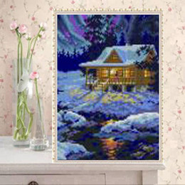 cabin paintings Australia - YGS-462 DIY Full 5D Diamond Embroider The log cabin Round Diamond Painting Cross Stitch Kits Diamond Mosaic Home Decoration