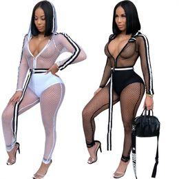 2ff1b156ac1d5 Fishnet jumpsuit online shopping - Fishnet Mesh Jumpsuit Women Long Sleeve  Hooded Romper Fitness Suit Workout