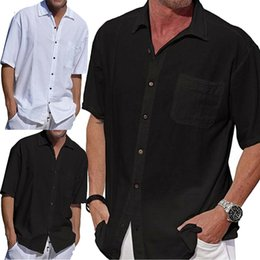 $enCountryForm.capitalKeyWord Australia - Summer New Arrival 2019 Men Single-breasted Short Sleeve Solid Linen Slim Fit Male Casual Dress Shirt Soft Plus Size 3XL