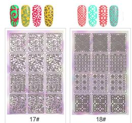 Sticker Stencil nail template online shopping - Nail Art Hollow Sticker Hollow Irregular Stencils Nail Laser Image Transfer Guide Template Nail Art Tools For DIY KKA6408