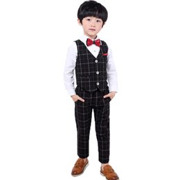 China Flowers Boys Suit Vest+Pants 2Pcs Wedding Set School Children Piano Performance Costume Girls Birthday Formal Dress supplier girls piano dress suppliers