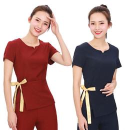 7d5e34fcfe8 [SET] 2019 Blusas médicas de manga corta para mujer Salón de belleza Esteticistas  uniformes Spa Túnica Traje
