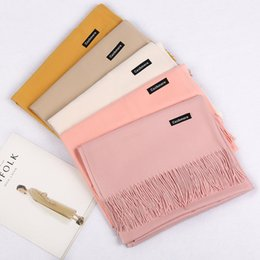 cashmere fashion solid pashmina scarf Australia - 30 Colors Infinity Scarves Women Soft Cashmere Pashmina Solid Color Shawl Wrap Stylish Warm Blankets Best Gift Oversize 200X70cm