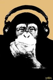 Monkey Movies online shopping - HEADPHONES MONKEY Art Silk Poster x36inch x43inch