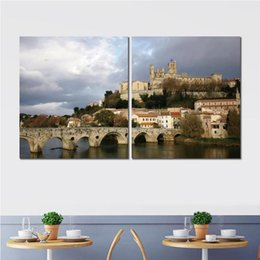 River Bridge Painting Australia - Wall decoration 2 panels prints canvas piantings czech republic river bridge picture for living room no frame