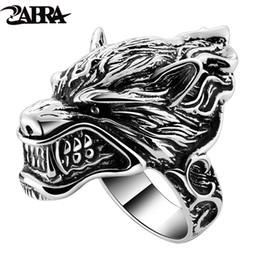 $enCountryForm.capitalKeyWord Australia - Solid 925 Sterling Silver Wolf Mens Biker Ring Game Of Throne House Stark Of Winterfell Direwolf Vintage Punk Rock Gothic Rings C19041203
