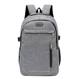 Discount simple men bags - Casual Solid Color Material Nylon Man's Backpack Multi-functional Large-capacity Student Schoolbag Simple Bag