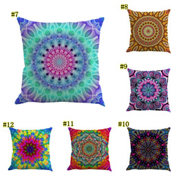 Knitted car pattern online shopping - 45 CM Bohemia Abstract Pillow Case Geometry Cushion Cover Mandala Flower Pattern Flax Throw Chair Seat Car Pillowcase MMA1632