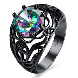$enCountryForm.capitalKeyWord Australia - New Hollow Design Rings For Party Unisex Ring Black Gold Filled Colorful Zircon Stone Fashion Jewelry Finger Ring