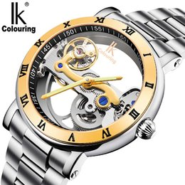 ik watches automatic 2019 - IK Colouring Waterproof Luxury Men's Skeleton Hollow Automatic Self Wind Analog Golden Stainless Strap Mechanical W