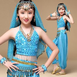 $enCountryForm.capitalKeyWord NZ - Kids Girl Belly Dance Costumes Set Top+Pants+Belts+Veil+Bracelet Children Professional Bollywood Indian Dancing Dress S M L XL