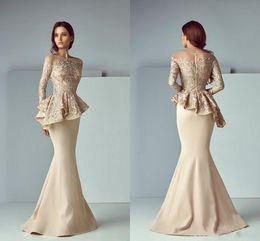 b6ceeb8f5b72 Eleganti abiti da sirena con champagne Abiti da cerimonia da sera in pizzo  con peplo puro collo maniche lunghe abito arabo da promenade 2019 Saiid  Kobeisy