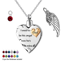 $enCountryForm.capitalKeyWord Australia - i used to be his angle... 12 Piece Birthstone Memorial Cremation Necklace for Mom,Dad,Angel Wings Ashes Urn Pendant