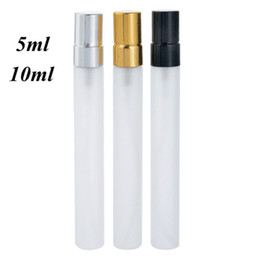 Perfume refills bottles online shopping - 5ML ML Frosted Glass Spray Bottle Refill Perfume Atomizer Portable Mini Sample Vials with Gold Silver Black Cap