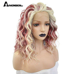 Kanekalon Lace Wigs NZ - Affordable Lace Front Wig Kanekalon Synthetic Remy Hair Pink Blonde Wavy Ombre