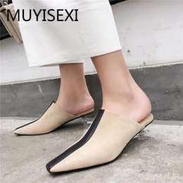 Wholesale Brand Shoes Women Mules Full Genuine Leather cm Low Transparent Heel Pointed Toe Fashion Slippers plus size PL13 MUYISEXI