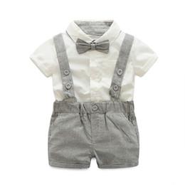 $enCountryForm.capitalKeyWord NZ - Baby Boy Sets Formal Toddler Clothes Fashion Tie + Short Shirt + Overalls Boys Clothing Summer Boy Party Birthday Costume Suit 0-24M
