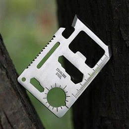 military tools NZ - Multi Tools 11 in 1 Multifunction Outdoor Hunting survival tool card Camping Pocket Military credit card knife Silver Black