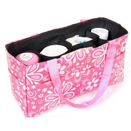 bottle tote bags NZ - Portable Women Cosmetic Bag Bottle Floral Print Storage Bag Organizer Multifunctional Separate Handbag Tote Cosmetic Case