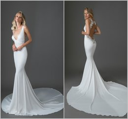 Tornai Dresses Australia - Pnina Tornai 2019 Mermaid Wedding Dresses Sexy V Neck Lace Appliqued Beads Bridal Gowns Custom Made Open Backless Wedding Dress