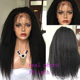 Discount for good hair - Natural Color Front Lace Kinky Straight Lace Front Hair Yaki Wigs For Women's Hair Wigs 180% High Density Good Qual