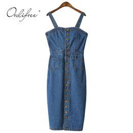 0e721de147c Ordifree 2019 Summer Autumn Women Denim Sundress Sarafan Overalls Vintage Blue  Sexy Bodycon Female Jeans Dress Q190417