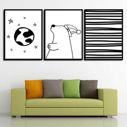 Art Canvas Prints Australia - HD Paintings Print Nordic Wall Cartoon Bear Modern Quotes Canvas Art Posters Pictures For Office Living Room Home Decoration