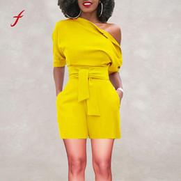 Wholesale Women Bodysuit Australia - Women's Sexy bodysuit Off Shoulder Jumpsuit for women Ruffle Short Romper Fashion Casual Jumpsuit plus size Fashion