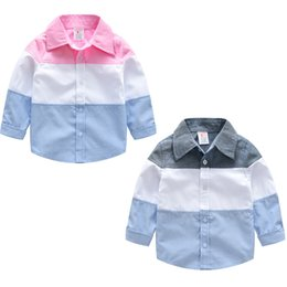 Long Collar Shirts For Girl Australia - 2 Color Boys Girls stripe shirt 2019 New Spring and summer Children lapel Long sleeves shirt Baby gentleman's tops for 3~8years