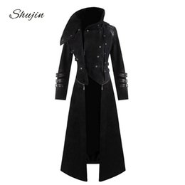 Mens gothic long coat online shopping - SHUJIN Mens Gothic Steampunk Hooded Trench Party Costume Tailcoat Long Sleeve Jacket Fashion Mens Jackets Coats Chaqueta Hombre