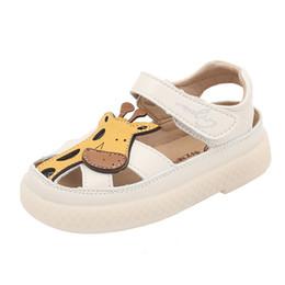 Toddler Summer Sandals Boys UK - Summer cute sandals kids shoes girls boy cartoon toddler Little shoes sandals kids outdoor quality hollow Leather beach